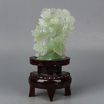 China Exquisite Hand-carved Flowers and birds carving natural Xiuyan jade statue