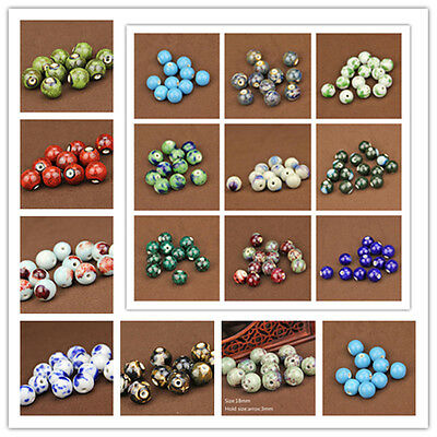 10Pcs Round Ceramic Porcelain Loose Spacer Beads 14/16/18mm Jewelry Findings New