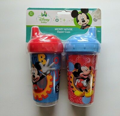 Disney Baby Mickey Mouse 2 pk. 10 oz. Sipper Cups Spill Proof BPA Free TODDLER