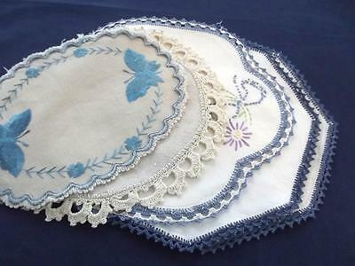 Lot of 5 Antique Cottage Chic Linen Doilies Variety Needlework Blue Butterflies