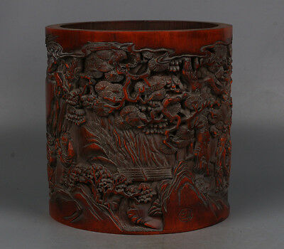 Chinese Exquisite hand-carved landscape people carving bamboo Pen holder