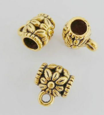 50/200Pcs Gold Plated Charms Bail Spacer Beads Fit Bracelet 8.5x7mm Hole 3.5mm