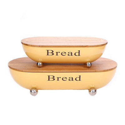 X463 Yellow Bread Box Metal Bin Sets With Bamboo Lid  Food Container Keeper