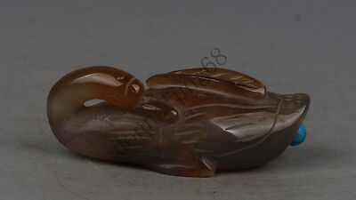 Chinese Exquisite hand-carved swan carving agate snuff bottle