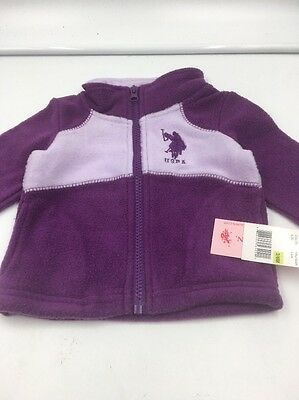 NWT Baby Girls Size 3/6M US POLO ASSN. Fleece Zip Front Jacket Purple