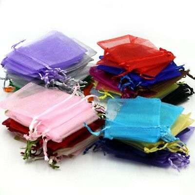50 100 ORGANZA 2 Sizes GIFT BAGS Wedding Favours Party Decor Candy Sheer Pouches