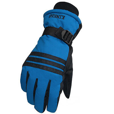 Mens Winter Warm Sports Waterproof Snow Motorcycle Snowboard Ski Gloves Black