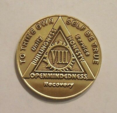 aa bronze alcoholics anonymous 8 year sobriety chip coin token medallion