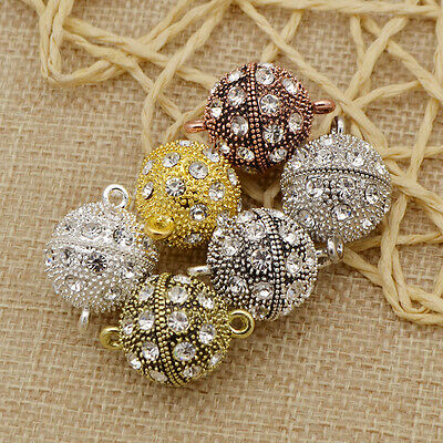 5 Pcs Crystal Rhinestone Pave Round Ball Magnetic Clasp Strong Connector Closure
