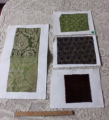 4 Rare Antique Renaissance c1400s-1700s) French Or Italian Silk Fabric Samples