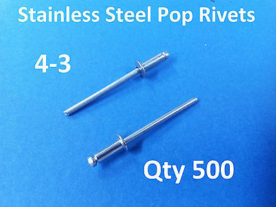 500 POP RIVETS STAINLESS STEEL BLIND DOME 4-3 3.2mm x 8mm 1/8""
