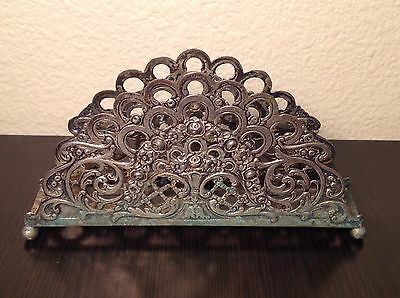 Antique GERMAN .800 Repousse Silver ROSES FLOWERS NAPKIN HOLDER Hallmarked