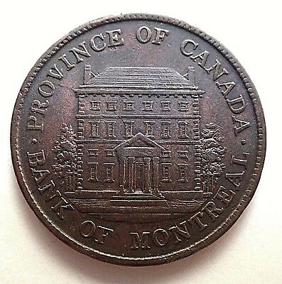1842  Province Of Canada-Bank Of Montreal Halfpenny Bank Token
