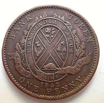 1842  Province Of Canada-Bank Of Montreal Penny Bank Token