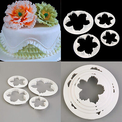 4pcs Peony Petal Mold Cutter Flowers Sugarcraft Cake Decorating Various Sizes UK