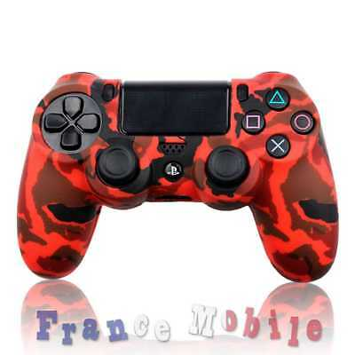 Housse Etui Coque case protection silicone pour Manette PS4 PlayStation 4 Rouge