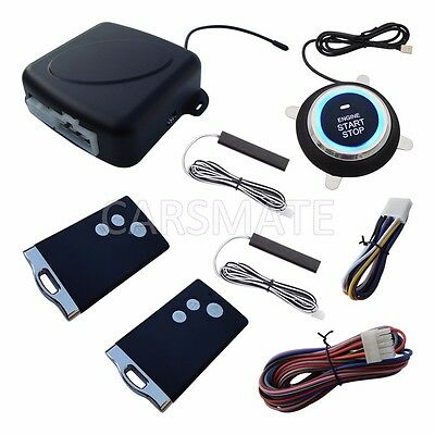 New RFID PKE Car Alarm System Remote Engine Start Stop Push Start Keyless Entry