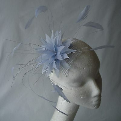Baby Blue Feather Fascinator for Races , Weddings , And Proms