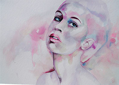 Original Aquarell Portrait Model  Drawing DIN A3 - NICOLE
