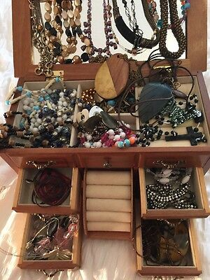 Very Large Job Lot Of Costume Jewellery With Wooden Jewellery Case