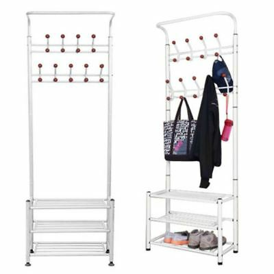 Metal Hat Coat Stand Clothes Shoes Rack Umbrella Steel Stand Hanger Hooks White