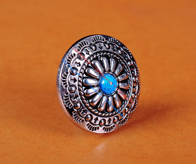 10Pc 30Mm Floral Turquoise Silver Screw Back Craft Conchos For Belt Wallet Bag