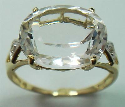 Great 10Kt Yellow Gold 5.2Ct White Topaz & Diamond Ring Size 7   R928