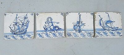 """Set of 4 antique late 17th century  or early 18th c.dutch delft tiles """"vessels""""."""