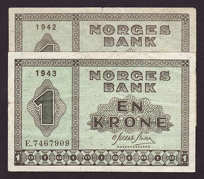 NORWAY  -  1 krone,1942,1943  -  lot of 2 pcs.  -  P 15a  -  VF