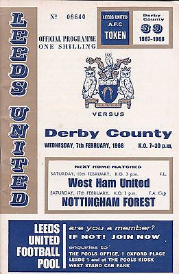 LEEDS UNITED v DERBY COUNTY LEAGUE CUP SEMI FINAL ~ 7 FEBRUARY 1967 ~ EXCELLENT