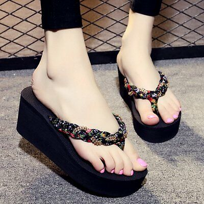 f8573c8541a5 Summer Womens Boho Wedge Platform Thong Flip Flops Sandals Beach Slippers  Shoes