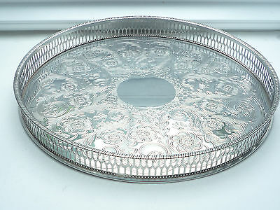 Superb Viners Aplpha Plate Silver Plated Circular Galleried Tea Tray
