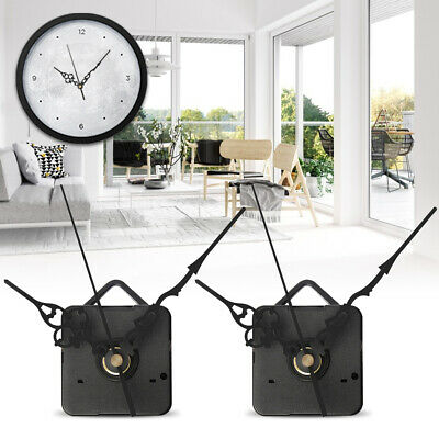 2x DIY Wall Quartz Clock Spindle Movement Mechanism Black Hands Repair Parts Kit