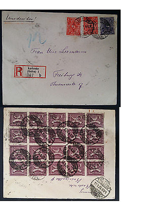 VERY RARE 1923 Germany Hyperinflation Cover ties 23 stamps canc Karlsuhe