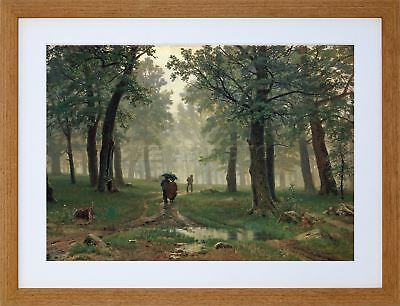 9x7 '' SHISHKIN RAIN IN AN OAK FOREST SHISHKIN OLD FRAMED ART PRINT F97X446