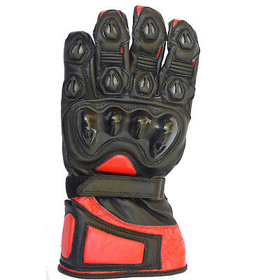 Mens Summer Leather Motorbike Cruiser Bikers Carbon Protection black red Gloves