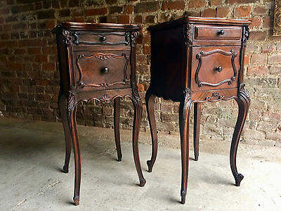 Beautiful Antique French Bedside Tables Cabinets Pair Walnut Marble Topped
