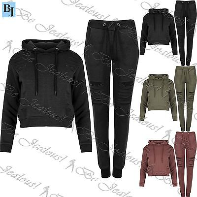 Womens Girls Laser CutOut Jogger Cropped Hoody Long Sleeve Cuffed Track Suit Set