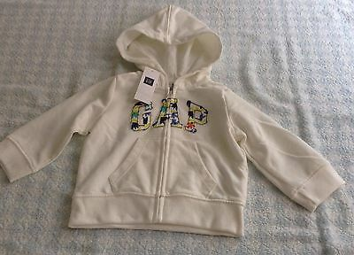 baby girls genuine gap hoodie zipper jacket cream floral logo 6-12/18-24 months