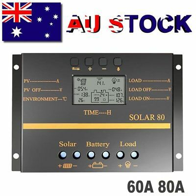 60A 80A Solar Charge Controller Battery Regulator 12V/24V Auto LCD With USB PWM