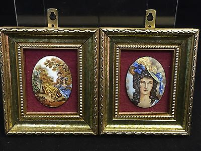 2 Vintage Very Pretty Miniature Frames With Enamel Pictures