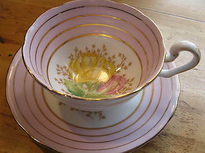 Antique C & E Victoria  England  Tea Cup And Saucer. Pink  Gold Hp Roses A1