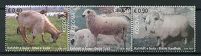 Kosovo 2017 MNH Sheep & Red Goat 3v Strip Goats Farm Animals Stamps