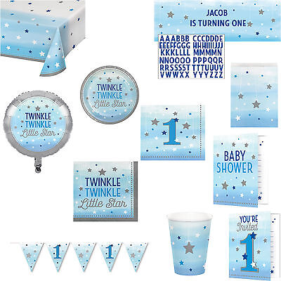 Blue Twinkle Star Party Boys 1st Birthday Baby Shower Tableware Decorations