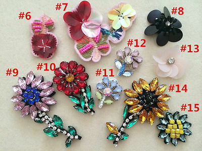 Patches 3D flower bee sequins beads Rhinestones accessory Applique  bag shoes