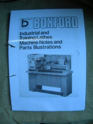 Boxford Training Lathes Machine Notes & Parts Manual