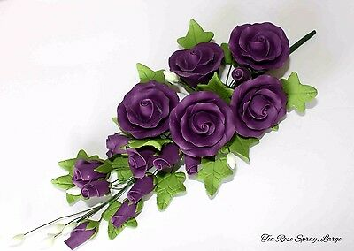 Tea Rose Spray, Sugar Flowers, Cake Topper, Gumpaste, Sugar Paste, PURPLE LARGE