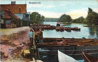 Early Vintage Tinted Postcard Pangbourne Village Berkshire Boats People