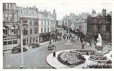 Vintage Postcard High Street And Burn's Statue Cars Animated Dumfries Scotland