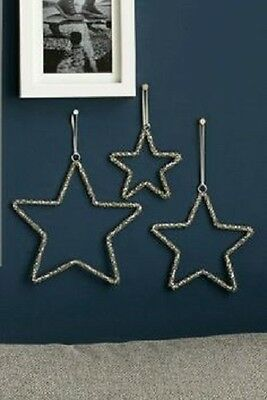 Brand New With Tags Next Set Of 3 Beaded Star Hanging Christmas Decorations